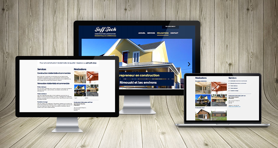 Exemple d'affichage sur ordinateurs du site Web construction et rénovation Jeff-tech